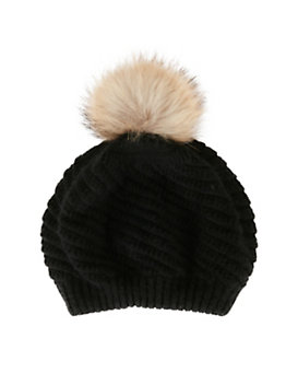ANNABELLE New York Holly Fur Pom Beanie Hat: Black