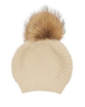 ANNABELLE New York Holly Fur Pom Beanie Hat: Cream