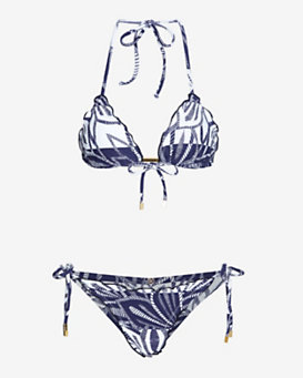 VIX Embellished Printed Triangle Bikini