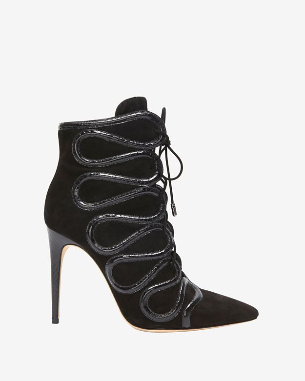 Alexandre Birman Lace Up Watersnake Suede Bootie: Black