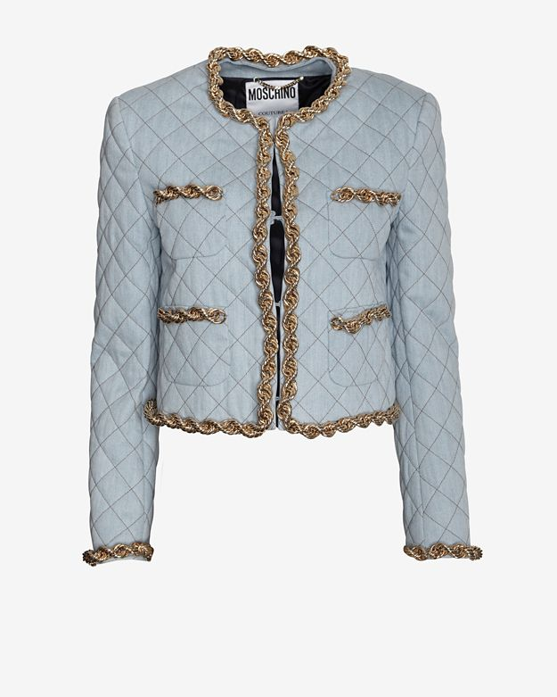 Moschino Quilted Denim Crop Jacket