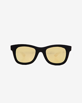Italia Independent Mirrored Lense Velvet Square Sunglasses: Black