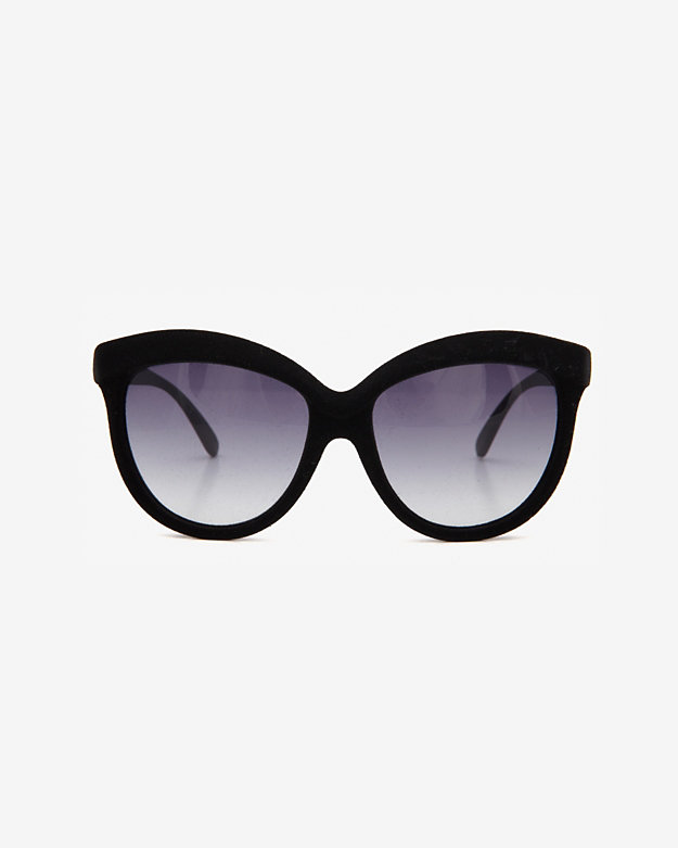 Italia Independent Oversized Velvet Sunglasses: Black