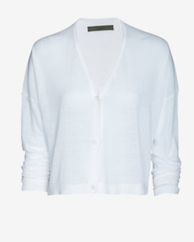 Enza Costa Cropped Cardigan: White