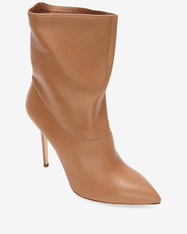 Brian Atwood Button Heel Stiletto Bootie: Camel