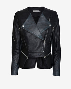 Preen Line Zipper Detail Split Back Hem Leather Jacket