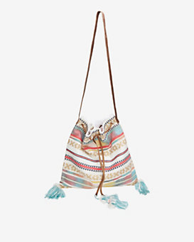 Star Mela Embroidered Canvas Beach Bag Shoulder Tote
