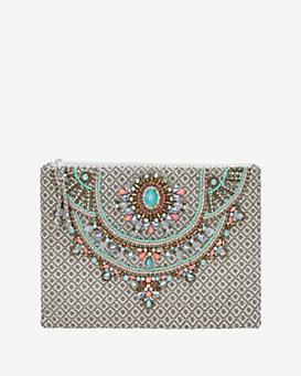 Star Mela Arla Embellished Zip Clutch