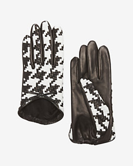 Agnelle Colorblock Basket Weave Gloves