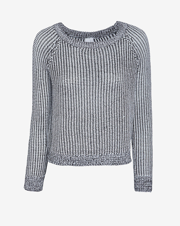 Shae Marled Knit Crop Sweater: Black