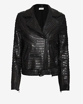 A.L.C. Blake Studded Leather Jacket: Black