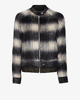 A.L.C. Fuzzy Wool Plaid Bomber Jacket