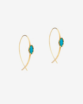 Lana Jewelry Turquoise Detail Upside Down Hoop Earrings
