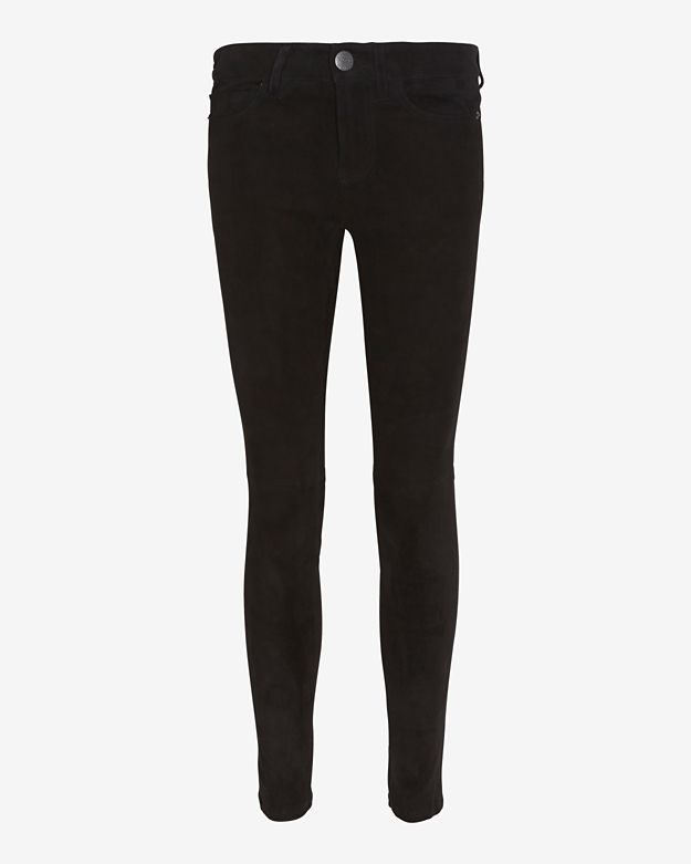 Current Elliott Stiletto Suede Skinny: Black