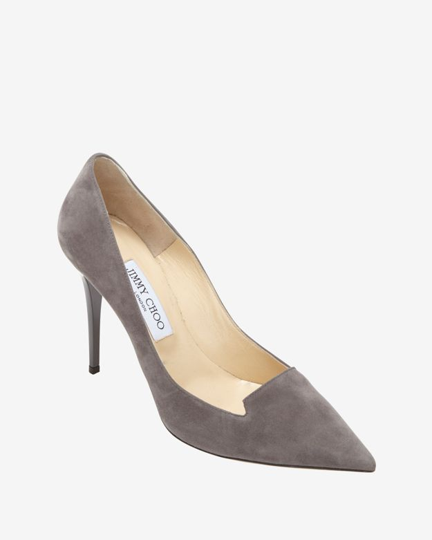 Jimmy Choo Loafer Vamp Suede Pointy Toe Pump: Grey