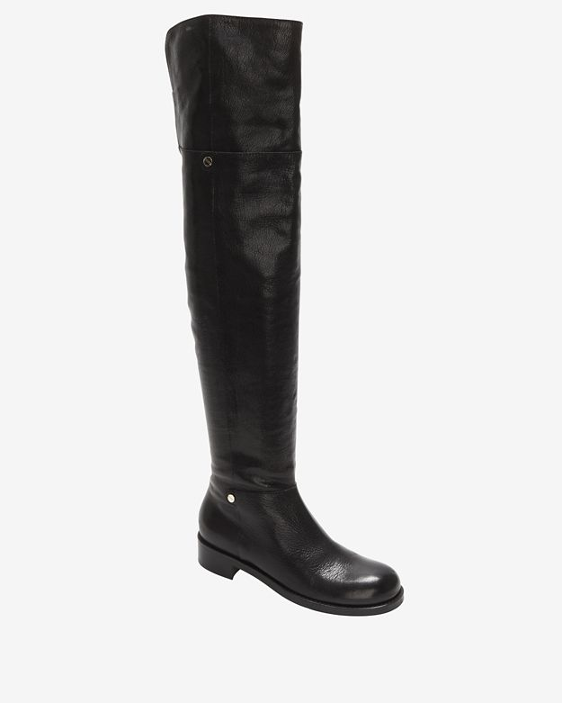 Jimmy Choo Over-the-Knee Shiny Leather Flat Boot
