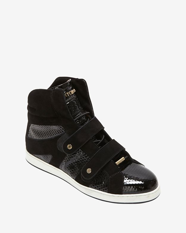 Jimmy Choo Cubed Print Patent Leather High-Top Sneaker