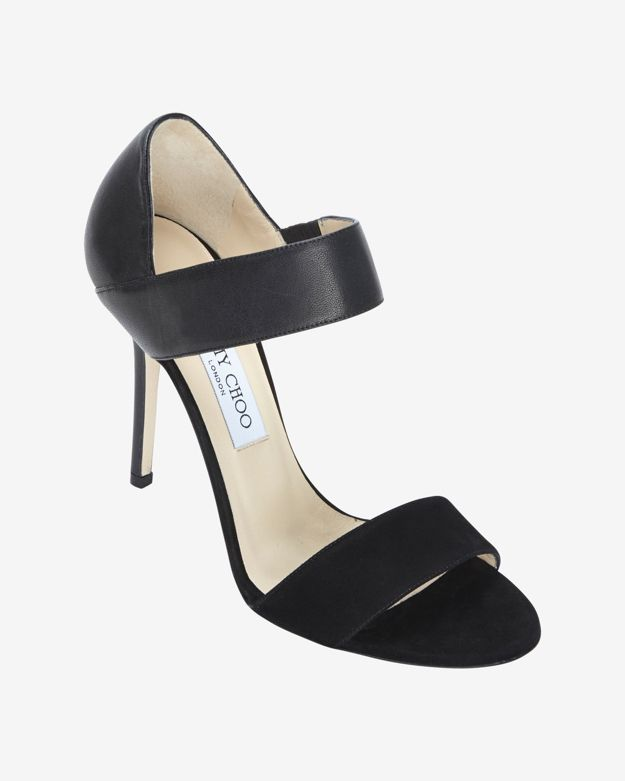 Jimmy Choo Double Strap Suede/Leather Sandal