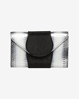 Khirma Eliazov Babo Watersnake/Stingray Clutch: Platinum