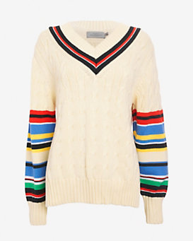 Preen by Thornton Bregazzi Varsity Striped V Neck Sweater
