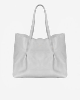 Nina Ricci Pleated Leather Tote: Grey