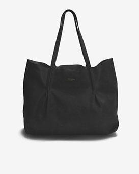 Nina Ricci Pleated Leather Tote: Black