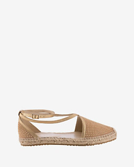 Jimmy Choo Donna Studded Suede Flat Espadrille