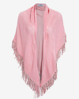 Bajra Leather Fringe Trim Triangle Scarf: Pink