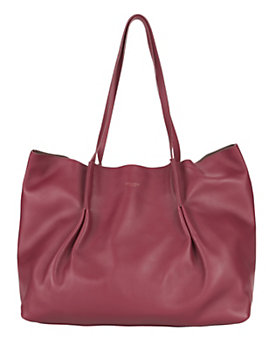 Nina Ricci Ondine Leather Pleated Tote: Burgundy