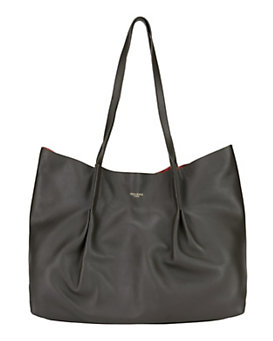 Nina Ricci Ondine Leather Pleated Tote: Black