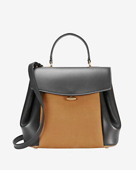 Nina Ricci Vanesio Leather/Suede Shoulder Bag: Black/Brown