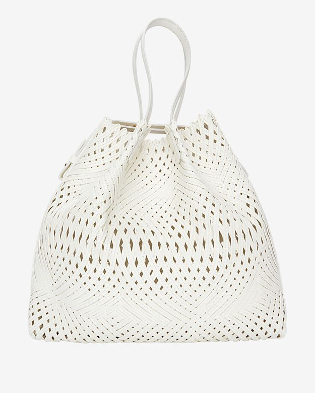 Nina Ricci Pamina Woven Leather Tote: White