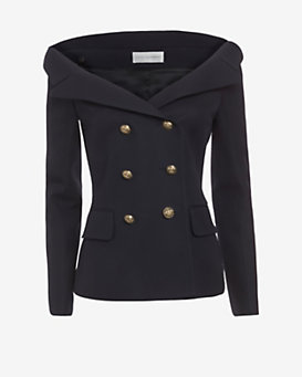 Faith Connexion Off The Shoulder Double Breasted Jacket