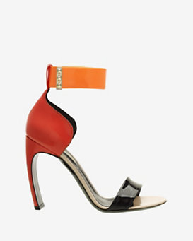Nicholas Kirkwood Colorblock Patent Leather Bowed Heel Sandal