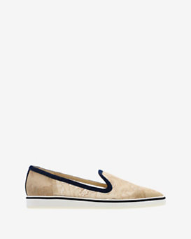 Nicholas Kirkwood Suede Trim Pointy Toe Lace Loafer