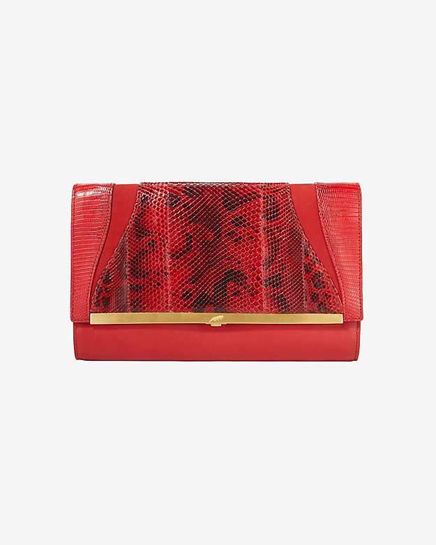 Khirma Eliazov Katerine Leather/Water Snakeskin Clutch: Red
