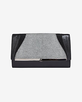 Khirma Eliazov Katherine Embossed Clutch: Black/White