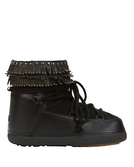 IKKII Shearling Lined Studded Fringe Moon Boot