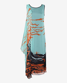 Missoni Drape Print Silk Long Dress