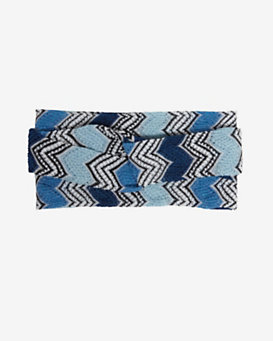 Missoni Twisted Braid Lurex Headband: Blue
