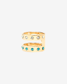 Maria Francesca Pepe Encrusted Double Banded Midi Ring