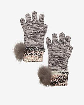 Missoni Fur Pom Knit Gloves