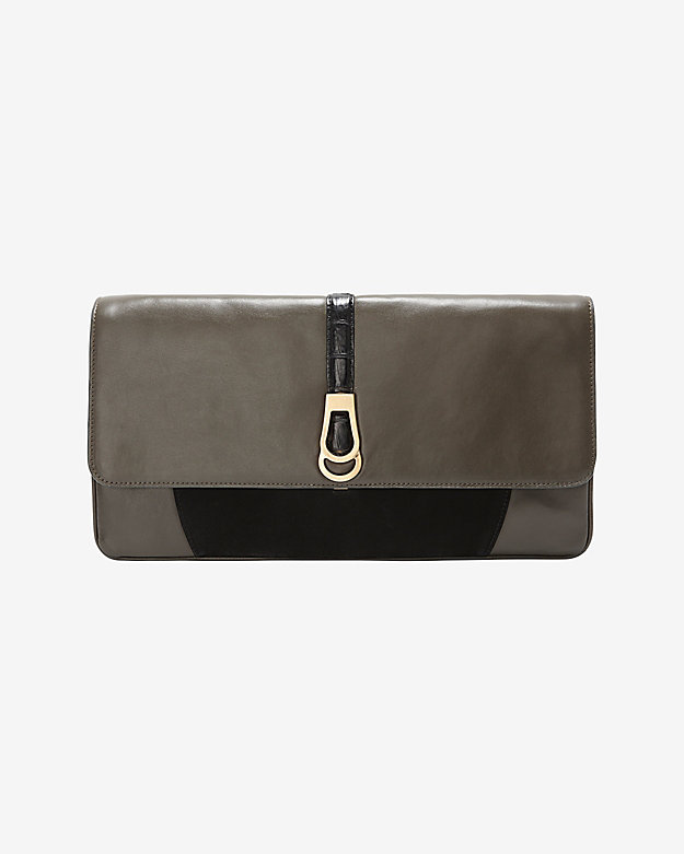 Khirma Eliazov Maxim Suede/Leather Envelope Clutch: Green