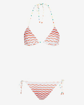 Missoni Mare Zig Zag Knit Triangle String Bikini: Red/Blue