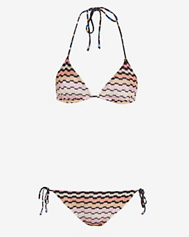 Missoni Mare Zig Zag Knit Triangle String Bikini: Black/Pink