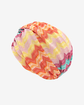 Missoni Mare Chevron Pattern Knit Turban: Pink/Orange