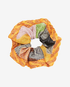 Missoni Lurex Knit Hair Scrunchie: Pumpkin
