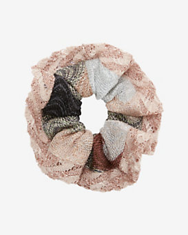 Missoni Lurex Knit Hair Scrunchie: Rosegold