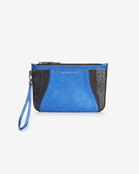 Khirma Eliazov Python Detail Zip Pouch: Electric Blue