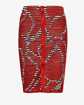 Missoni Pattern Knit Skirt: Red
